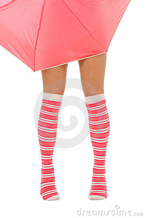 Free Woman Legs In Color Red Socks With Umbrella Isolat Stock Photo - 10648400