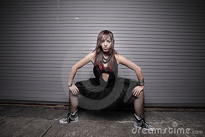 Woman with legs split