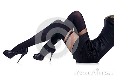 Woman legs with stockings
