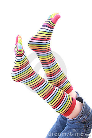 Woman legs in strip sock
