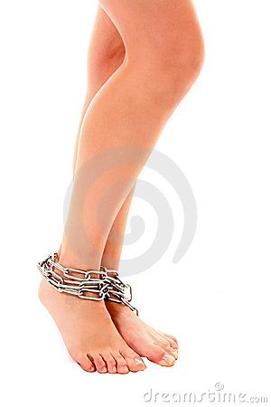 Woman Legs Tied Up By Chain Isolated Stock Image - Image: 18089351