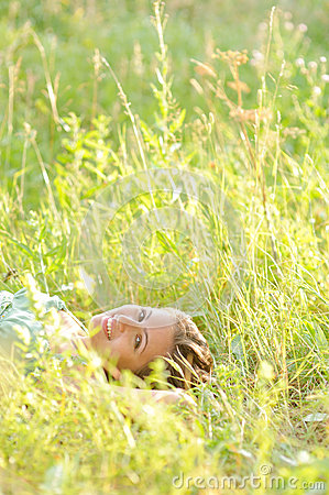 Woman lie in the park