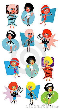 Woman life icons- sport, diet,