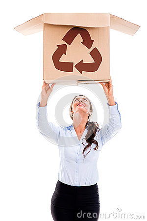 Woman lifting a recyclable box