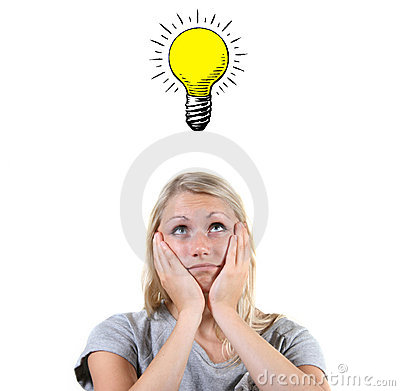 woman with light bulb above her head