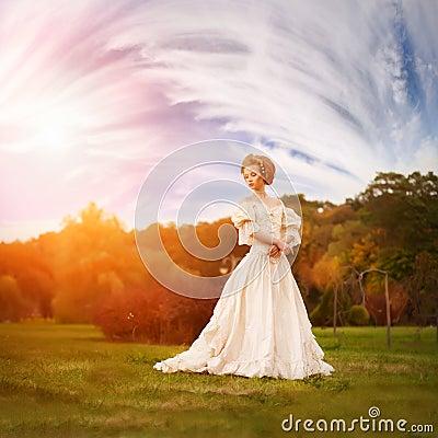 A woman like a princess in an vintage dress