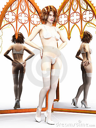 Woman in lingerie with mirrors