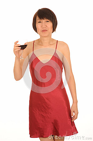 Woman in lingerie with wine