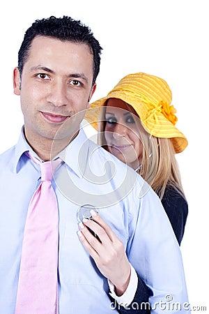 Woman listening her partners heart