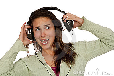 Woman listening loud music