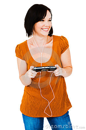 Woman listening media player