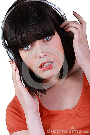 A woman listening music