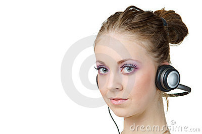 Woman listening music and looking at you