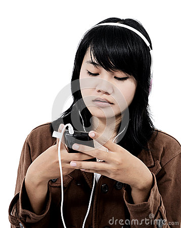 Woman listening to sad music with the phone