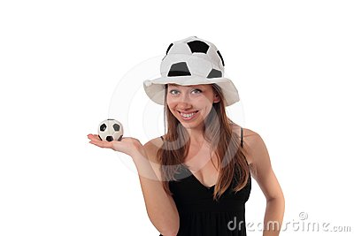 Woman with a little football on her palm