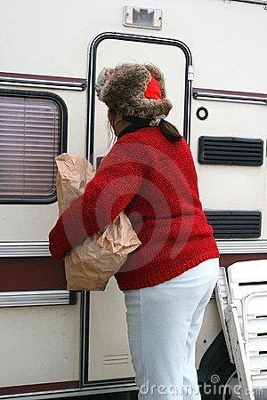 Woman living in a trailer