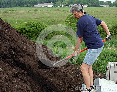 Woman loading compost