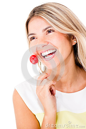 Woman with a lollipop