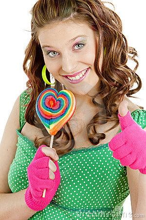 Woman with a lollypop