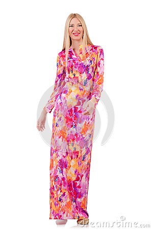 Woman in lond dress