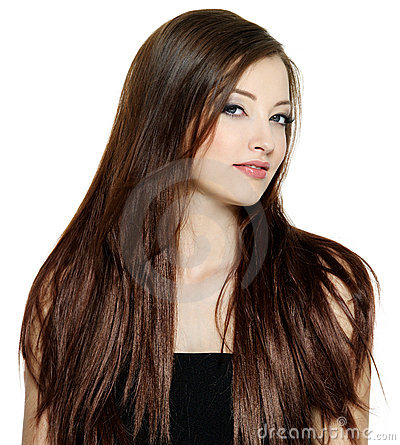 Woman with long brown straight hair