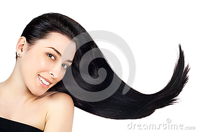 Woman with long brown straight hairs