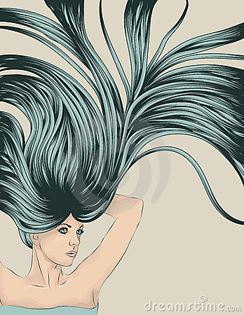 Woman with long detailed flowing hair