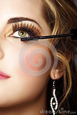 Woman with long eyelashes and mascara