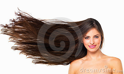 Woman with long flying hair