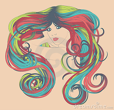 Woman with long funky colorful hair