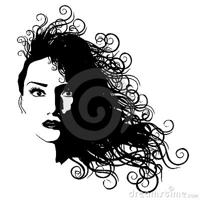 Woman Long Hair Black Outline