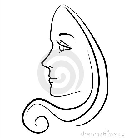 Woman With Long Hair Outline