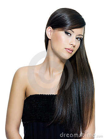 Woman with long straight brown hair