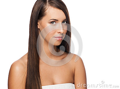 Woman with long straight hair