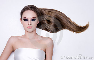 Woman with long straight smooth hair