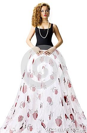 Woman in long white skirt