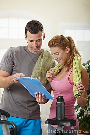 Free Woman Looking At Training Plan Stock Image - 12395791