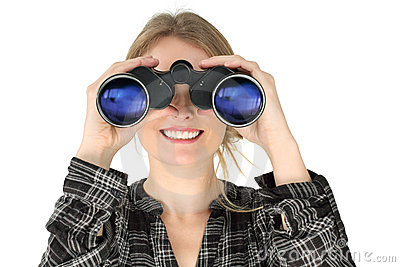 Woman Looking With Binoculars Royalty Free Stock Image - Image: 18300786