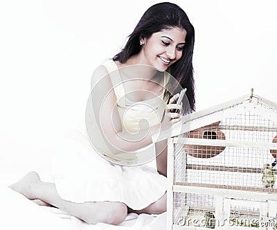 Woman looking at birds