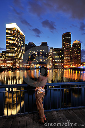 Woman Looking at Boston Skyline