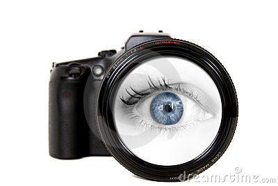 Woman Looking Through a Camera Lens