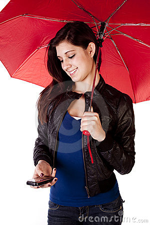Woman Looking Down Phone Umbrella