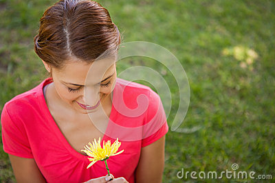 Woman looking downwards at a yellow flower