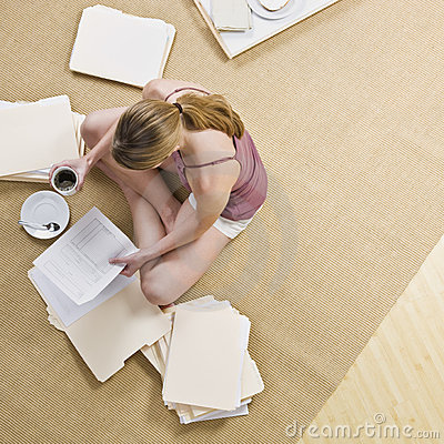 Woman Looking through Files