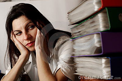 Woman looking at the folders.