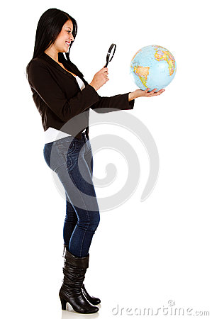 Woman looking at the globe