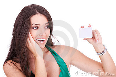 Woman looking at her bussiness card