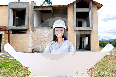 Woman looking at a house project
