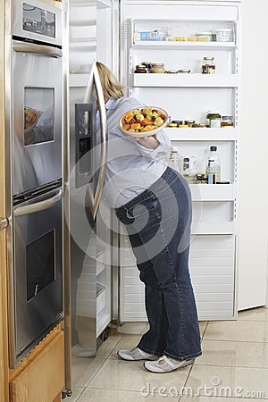 Free Woman Looking Into Fridge Royalty Free Stock Images - 29658749