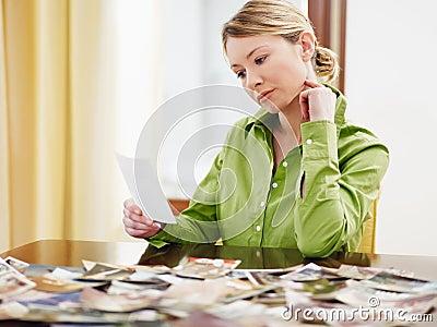Woman looking at photos